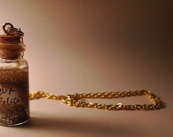 Felix Felicis Vial Necklace - Harry Potter Liquid Luck Potion - Handmade, Corked Glass Bottle