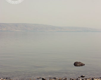Sea of Galilee, Art Print,  Israel Photography, Holy Land, Travel Photography, Blue, Grey, Water