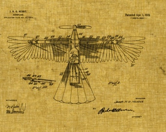 Victorian Aeroplane Winged Airplane Blueprint 8x10 Print