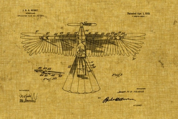 Victorian Aeroplane Winged Airplane Blueprint