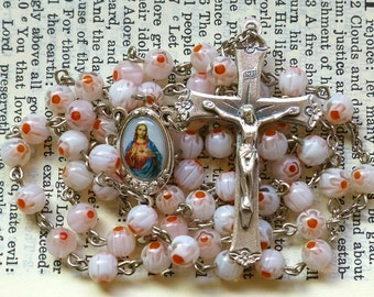 Sacred Heart Rosary - Millefiori, Floral, Pink Orange and White, Pastel, 6mm Glass Bead