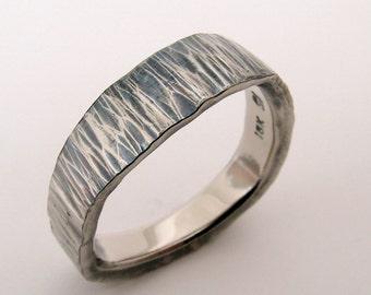 Hand Made Mans Sea Wave Patinated Hammer Texture 18k Palladium White Gold Wedding Band