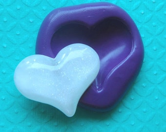 31mm Puffy Love Heart Flexible Silicone Mold
