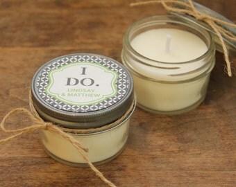 Set of 12 - 4 oz Soy Candle Wedding Favors - I Do Label Design // Wedding Favor Candle // Personalized Wedding Favor // Candle Favor