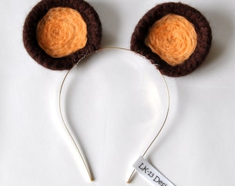 """Modern Crochet, 3D """"Bear Ears"""", headband, natural, brown beige, handmade,"""