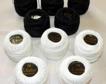 Anchor JP Coats Perle Cotton Crochet Yarn Hardanger Floss Thread 85m per Ball size No.8 - White or Black available