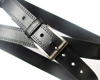 Black belt for men, Black leather suit belt with threads stitching. ALL SIZES