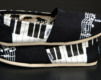 Piano and Music Staff Custom Painted Canvas Shoes (Shoes Not Included)