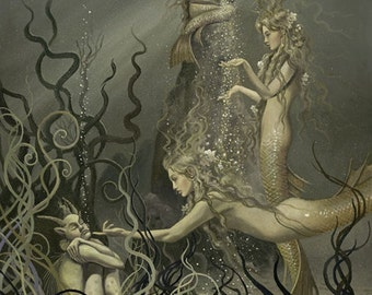 "Rhinemaidens No. 2 (Unframed 18""x24"" Giclée Print) Mermaid Art  by David Delamare (Wagner Ring Cycle)"