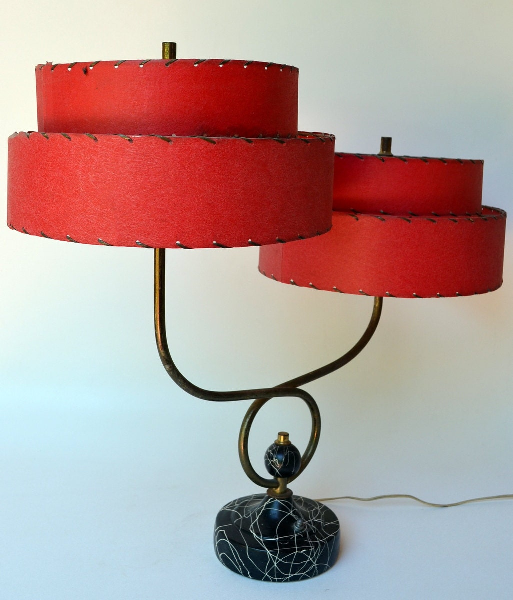 Mid Century Modern All Original Table Lamp Red Resin Shades