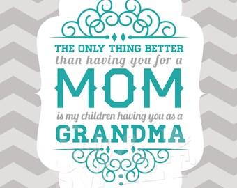 Mom Art Print: Only Thing Better Mom to Grandma Printable (8.5 x 11)