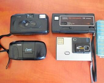 Lot(4) Kodak Vintage collectors Film Camera KB10, Cameo Motor EX, Tele Instamatic 708, Disk 4000