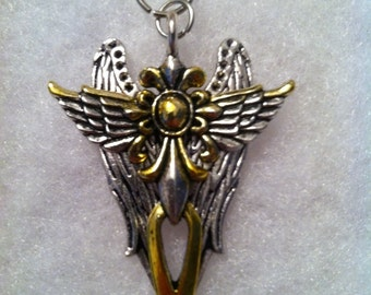 Gold & Silver Winged Cross Pendant