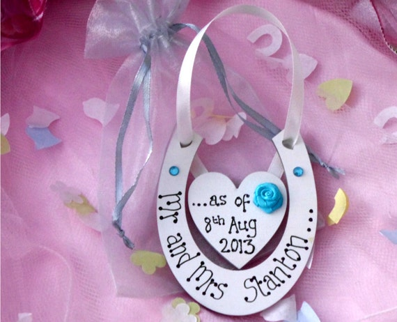 Novelty Wedding Gifts For Bride And Groom : NOVELTY Bride and Groom wedding giftpersonalised handmade horseshoe ...