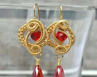 CLEARANCE REDUCED,   Gold Wire Wrapped Earrings with Red AB Swarovski Crystal