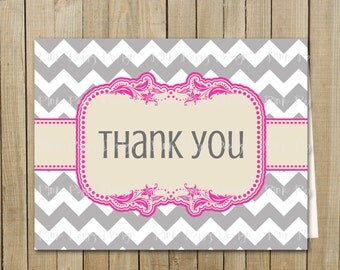 Trendy Gray with Pink Chevron Thank You Card, Birthday, Shower, Graduation, Every Day, Custom Digital File, Printable