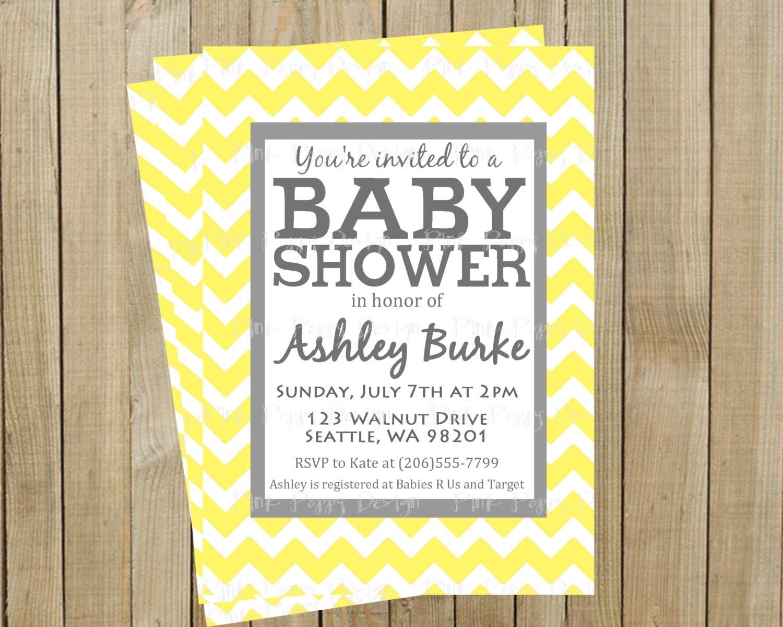 trendy yellow chevron with gray baby shower invitation, custom, Baby shower invitations