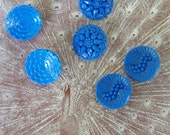 Vintage Buttons Blue Glass 6 buttons 2 each of 3 designs. Molded glass 1930s vintage buttons. Art Deco glass