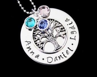 Mothers jewelry - Family Tree Necklace - Hand stamped personalized name necklace with Swarovski Birthstones and tree charm - Mothers necklac