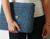 13 inch laptop sleeve / laptop case with braided design in blue-grey
