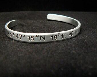 latitude longitude, coordinates hand stamped silver bracelet, personalized gift , GPS