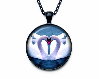 Swan pendant Swan necklace Heart from Swan jewelry nature necklace