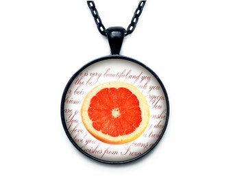 Grapefruit necklace Grapefruit necklace pendant Grapefruit jewelry fruit necklace