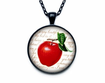 Apple necklace Apple necklace pendant Apple jewelry fruit necklace
