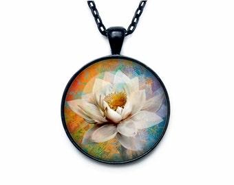 Lotus pendant  Lotus flower necklace charm Lotus pendant Lotus jewelry