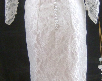 Wedding dress all lace Handmade Audrey Hepburn style wedding dress all nottingham lace fully lined long buttoned sleeves size uk10
