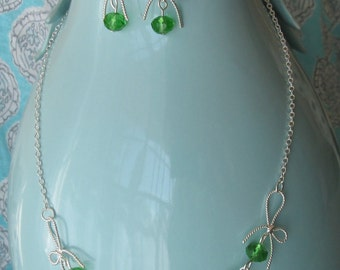 Sterling Silver Green Swarovski Crystal Bow Necklace and Earrings Set By The Darling Duck