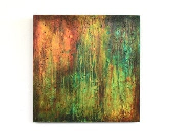 original abstract orange green painting industrial drip painting wood modern urban rust turquoise yellow brown Leah Fitts Art