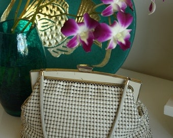White Glomesh Bag -- Vintage 1950s Glomesh Bag