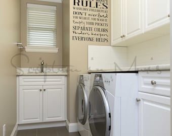 Laundry Room Rules Vinyl Decal