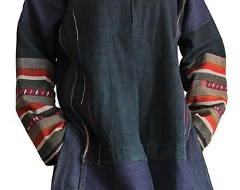 Hemp Jacket with vintage Akha fabric (JHM-010-03)