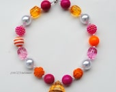 Orange and Pink  Baby, Toddler, Girl Chunky Necklace, Bubblegum Necklace