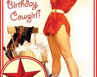 Cowgirl Cards - Happy Birthday Cowgirl - 5x7 Blank Inside