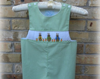 Boys Smocked Jon Jon Bunnies shortall in Lime Green Gingham, perfect for Easter!