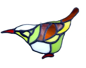 Stained glass bird suncatcher, window ornament, hanging home decor green brown white colour