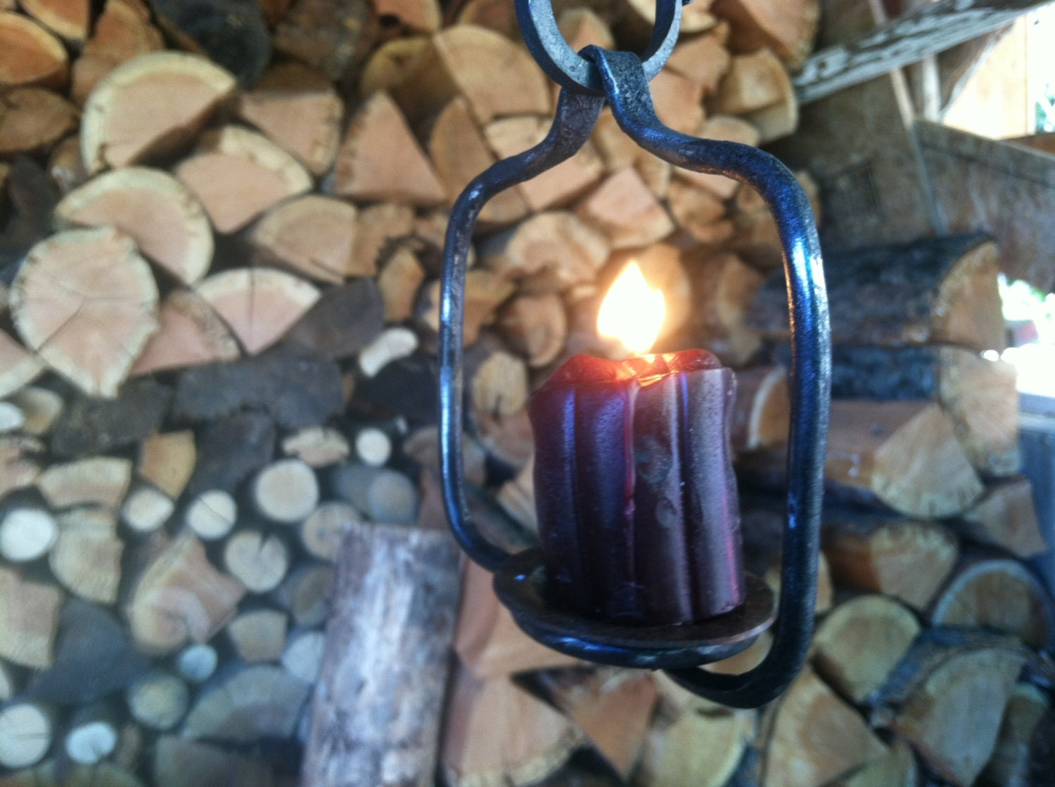 Wrought Iron Hanging Candle Holder with S Hook by AllronianForge