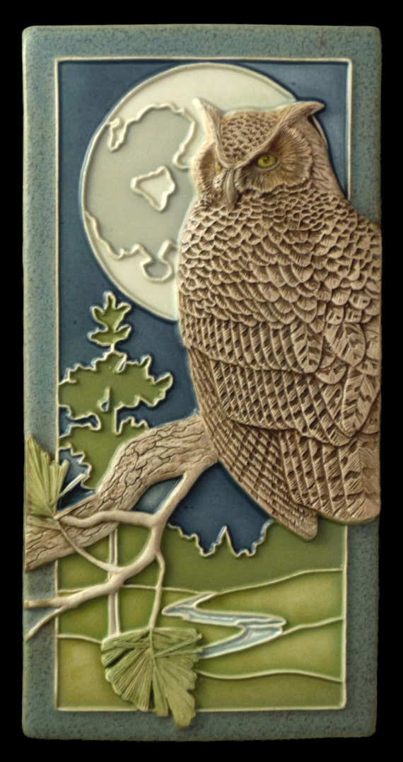 Ceramic Tile Night Owl Art Tile Wall Decor Sculpture