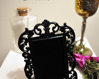 Black scrying mirror for wicca, divination, magick, travel altar