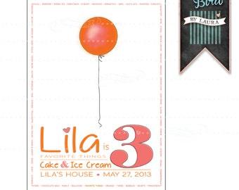 Favorite Things - Balloon - Birthday - Invitation - Printable - Digital - Customizable