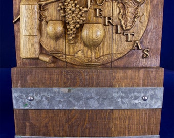 Wine Barrel Wall Art CNC carved from a recycled or repurposed Wine Barrel , it reads In Vino Veritas = In Wine there is Truth