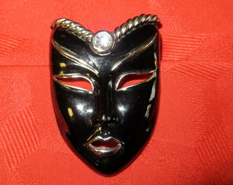 Stunning 1970's Jet Black Harlequin Mask Silver Tone Brooch Pin - Free Shipping
