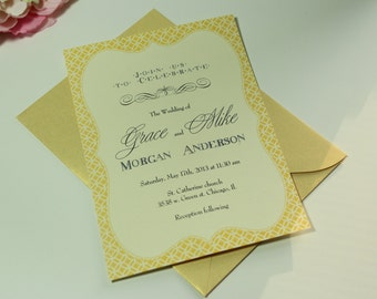 100 Wedding Invitations, invites Antique Vintage Sweet Yellow Gold shimmery
