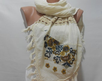 Bohemian Tassel Scarf Cream Scarf Shawl Embroidered Spring Scarf Boho Cowl Scarf Women Fashion Accessories Chistmas Gifts For Her