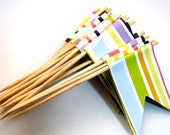 Multi Coloured Stripes Cupcake Toppers Flags Set of 17