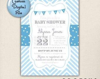 Chevron Stripe Invitation, Baby Shower Invite, Custom Digital Invitation