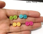 Tiny button stud earrings, button earrings, handmade jewelry, sweet gift for kid.
